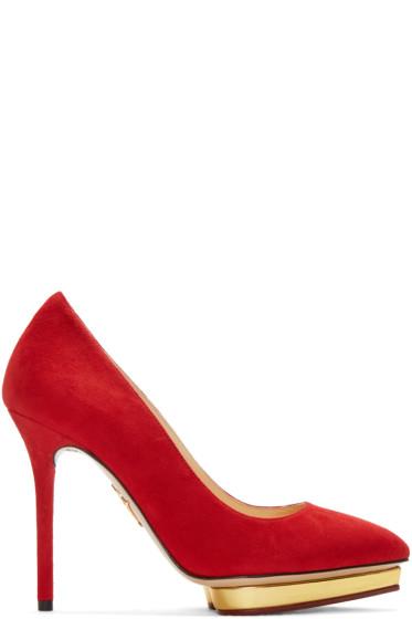 Charlotte Olympia - Red Suede Debbie Heels