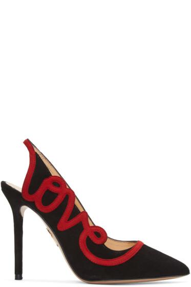 Charlotte Olympia - Black Suede 'Love' Heels