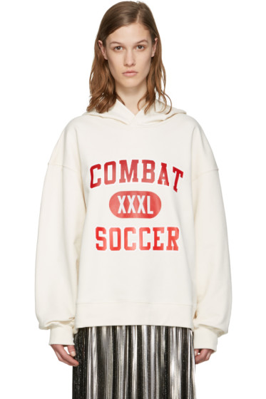 MSGM - White 'Combat Soccer XXXL' Hoodie
