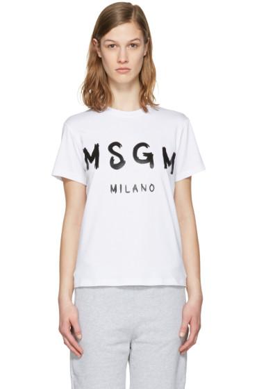 MSGM - White Drawn Logo T-Shirt