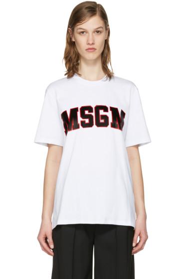 MSGM - White College Logo T-Shirt