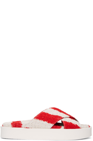 MSGM - Red & Off-White Criss-Cross Sandals
