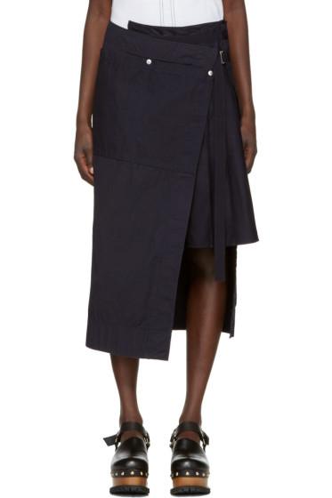 Sacai - Navy Overdyed Wrap Skirt