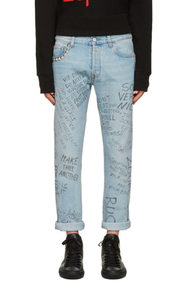 Gucci - Blue Studded Scribble Jeans