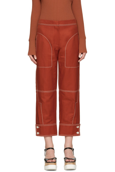 Stella McCartney - Red Buttoned Cuff Stitching Trousers