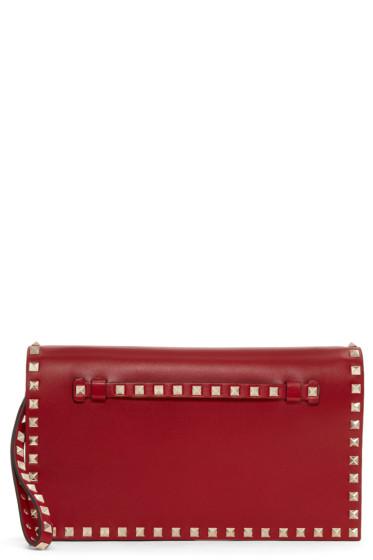 Valentino - Red Foldover Rockstud Clutch