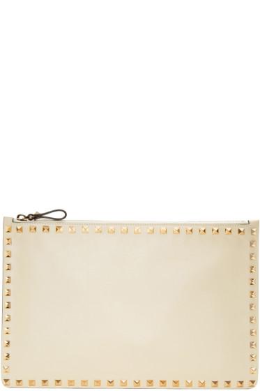 Valentino - Ivory Rockstud Zip Pouch