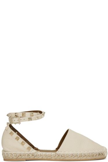 Valentino - Ivory Leather Rockstud Espadrilles