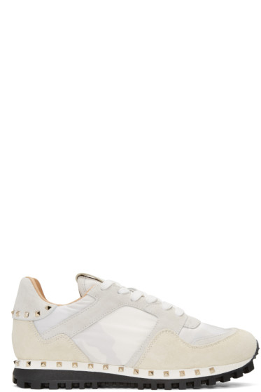 Valentino - White Camo Rockstud Sneakers