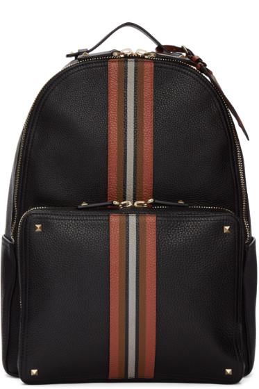 Valentino - Black Rockstud Striped Backpack
