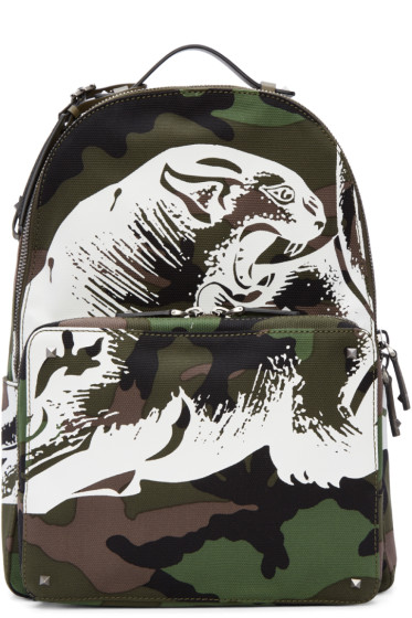 Valentino - Green Camo Printed Backpack