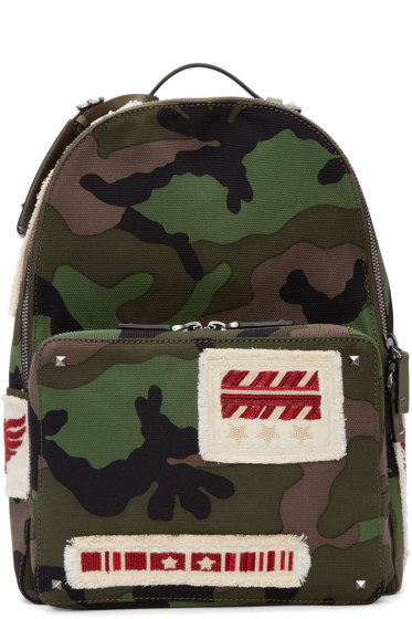 Valentino - Green Camo Patches Backpack