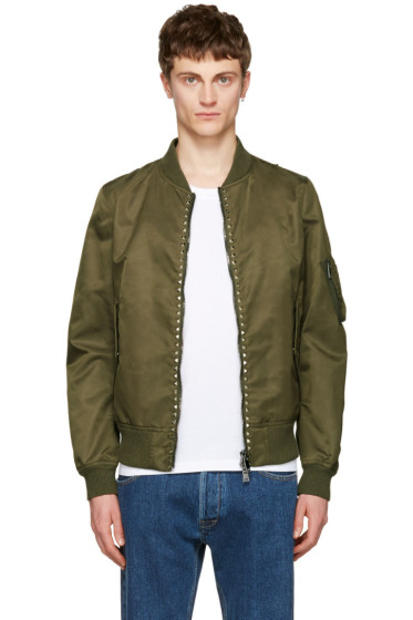 Valentino - Green 'Rockstud Untitled' 15 Bomber Jacket