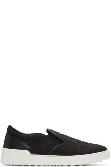 Valentino - Black Rockstud Stars Slip-On Sneakers