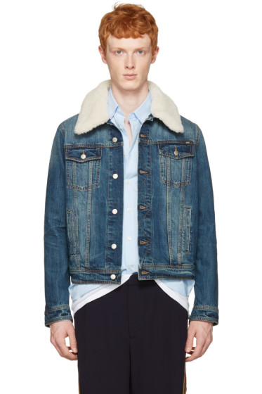 AMI Alexandre Mattiussi - Blue Denim Shearling Collar Jacket