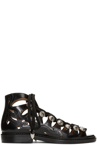 Toga Pulla - Black Lace-Up Sandals