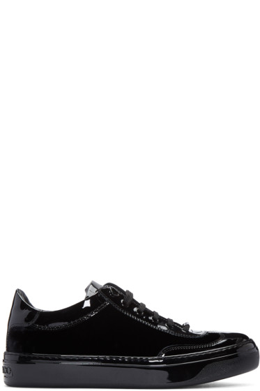 Jimmy Choo - Black Velvet & Leather Ace Sneakers