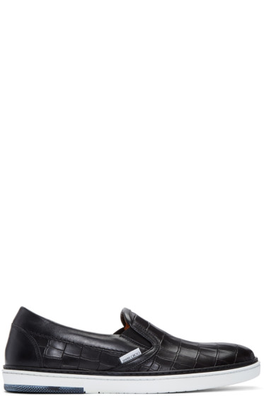 Jimmy Choo - Black Croc-Embossed Grove Slip-On Sneakers
