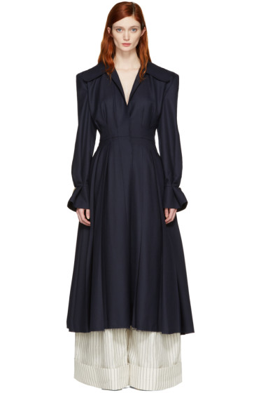 Jacquemus - Navy 'Le Manteau Plissé' Coat