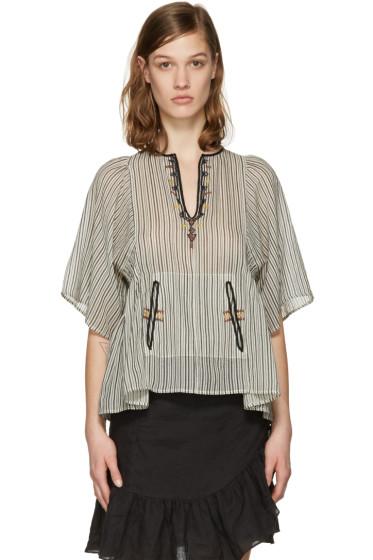Isabel Marant Etoile - Ecru Embroidered Stripe Joy Blouse