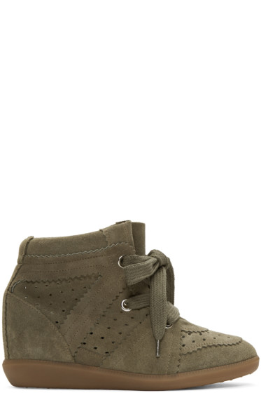 Isabel Marant - Green Bobby Wedge Sneakers