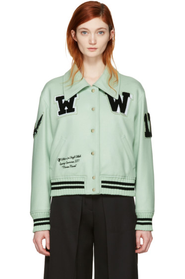 Off-White - Green Varsity Bomber Jacket