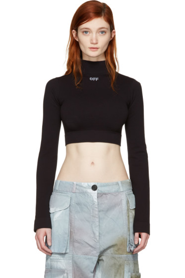 Off-White - Black Cropped 'Off' Turtleneck