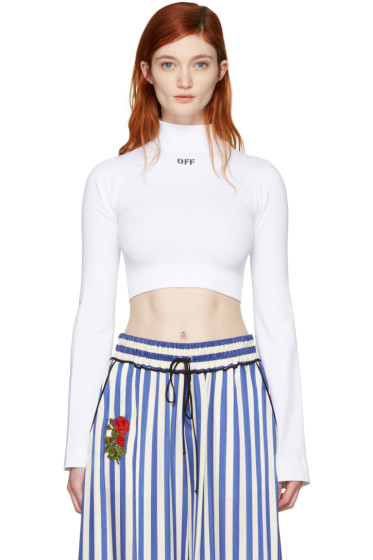 Off-White - White Cropped 'Off' Turtleneck