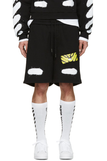 Off-White - Black Spray Brushed Diagonals Shorts