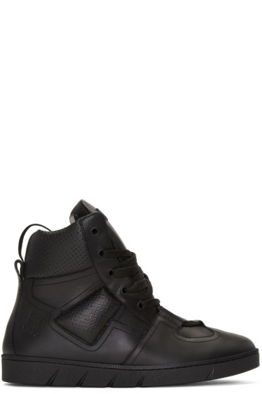 Loewe - Black Leather High-Top Sneakers