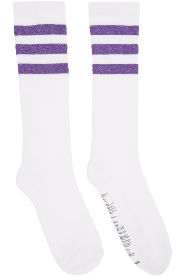 Palm Angels - White Lurex Stripes Socks