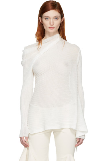 Marques Almeida - White Ribbed Draped Pullover