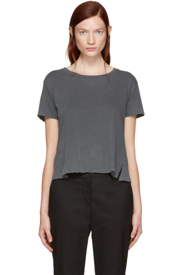 Amo - Grey Twist Cut-Out T-Shirt