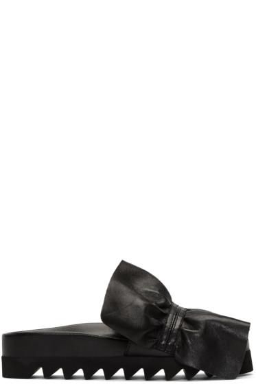Joshua Sanders - Black Ruched Slide Sandals