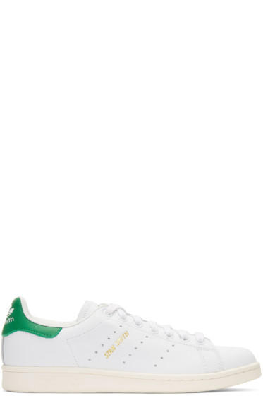 adidas Originals - White & Green Stan Smith Sneakers