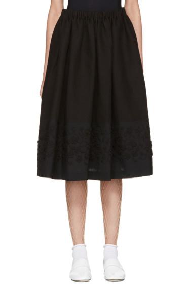 Tricot Comme des Garçons - Black Floral Embroidery Skirt