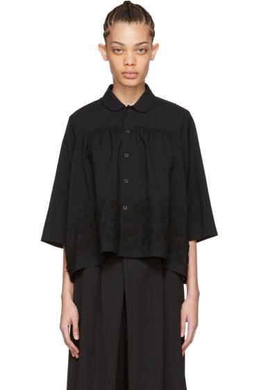 Tricot Comme des Garçons - Black Floral Embroidery Shirt