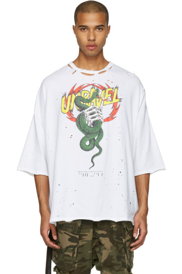 Unravel - White Distressed Snake Boxy T-Shirt