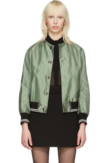 Miu Miu - Green Oversized Patches Bomber Jacket