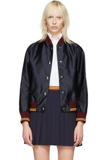 Miu Miu - Navy Nylon Patches Bomber Jacket