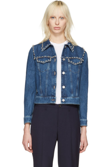 Miu Miu - Blue Embellished Denim Jacket