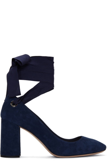 Miu Miu - Navy Suede Grommet & Ribbon Heels
