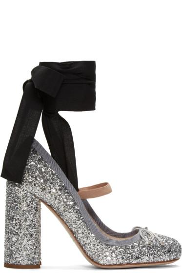 Miu Miu - Silver Glitter Ballerina Heels