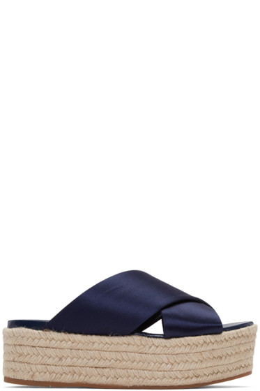 Miu Miu - SSENSE Exclusive Navy Satin Beach Sandals