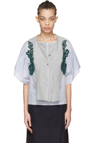 Harikae  - Blue & Grey Striped Lace Shirt