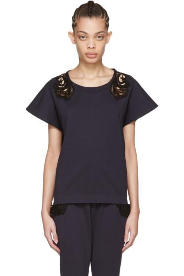 Harikae  - Navy Lace Appliqué T-Shirt