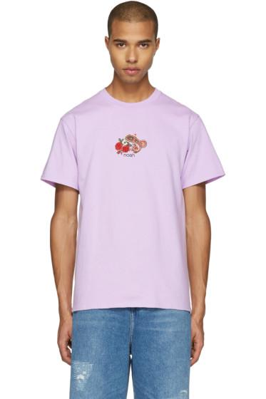 Noah - Purple Embroidered Paisley Logo T-Shirt
