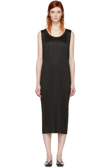 Pleats Please Issey Miyake - Black Pleated Maxi Dress