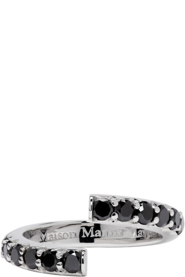 Maison Margiela Fine Jewellery - White Gold Half-Pavé Diamond Alliance Split Ring