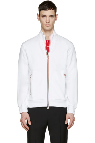 Moncler - White French Terry Zip-Up